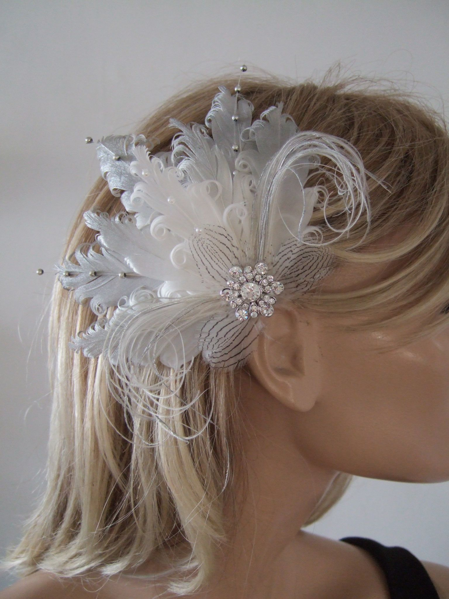 Silver White Fascinator Curled Goose Nagoire Feather